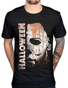 8638cc2a2d AWDIP Men s Official Halloween Mask And Drips T-Shirt Movie Film Michael  Myers Jamie Lee