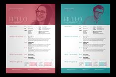 My Resume V1 International A4 & US Letter sizes included Simple yet high impact single page resume/cv with emphasis on a large photo. The template comes in 5 different colours to help get