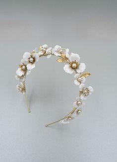Floral Headband Wedding, Rhinestone Headband, Pearl Headband, Floral Headbands, Headpiece Wedding, Bridal Tiara, Bridal Headpieces, Pearl Headpiece, Headdress