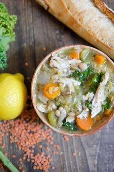 Lemon Chicken Soup with Lentils, Kale, & Beans Recipe