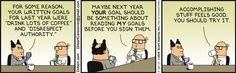 Dilbert, 2/28/14 - Yes, I work there and have had the pointy-haired boss...