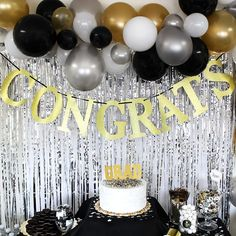 """Congrats Gold Glitter Banner Sign This gold glitter congrats cardstock banner features letter cutouts that spell out """"Congrats"""" strung together with a black ribbon. Perfect as a graduation party decoration or retirement party decoration. Outdoor Graduation Parties, Graduation Party Planning, College Graduation Parties, Graduation Diy, Graduation Table Ideas, Nursing Graduation, Kindergarten Graduation, School Parties, Retirement Party Decorations"""
