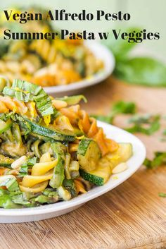 A perfect summer pasta recipe made with vegan pesto alfredo and lots of fresh veggies. Healthy and delicious. Perfect for a weeknight meal.