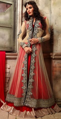 USD 83.09 Beige Net With Red Georgette Indo Western Anarkali Suit 42511