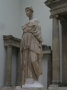 A copy of the statue of Athena at the Parthenon in Athens, found in the Sanctuary of Athena in Pergamon. From 2nd century BC. Pergamon Museum, Berlin, Germany.