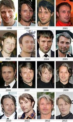 Mads Mikkelsen^^^is it just me or do you see him aging in the top row and then all of a sudden he just stops? Like he changes his hair style and constantly choosing between having a beard/mustache or not, but he doesn't seem to have aged? Hannibal Lecter, Hannibal Cast, Hannibal Series, Hannibal Humor, Hannibal Quotes, Hugh Dancy, Will Graham, Sir Anthony Hopkins, Gary Oldman
