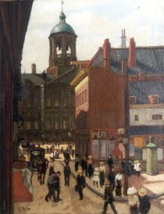 Gerard Johan Staller (Amsterdam 1880-1956) De Damstraat en het Koninklijk Paleis in Amsterdam. Amsterdam Art, Dutch Artists, Fine Art, Illustration, Paintings, Art, Sketching, Nostalgia, Paint
