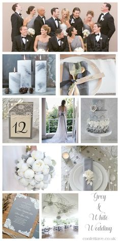 Grey and White Wedding | Mood Board http://confettiave.co.uk/grey-and-white-wedding