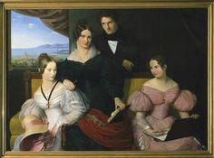Bernard Schlösser Bildnis der Frau Elisabeth Wilhelmine Jeanrenaud mit ihren Kindern Oil on canvas 1835