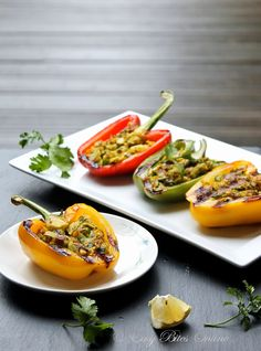 Grilled Stuffed Peppers With Tofu and Walnuts. low carb, fiber and nutrient rich