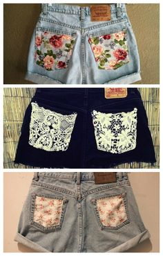 Add some pretty fabric to your old shorts DIY Diy Summer Clothes, Summer Outfits, Summer Shorts, Summer Clothing, Diy Used Clothes, Diy Your Clothes, Diy Clothes Jeans, Summer Dresses, Teens Clothes