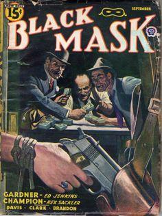 Black Mask noir pulp magazine woman girl dame hostage captive prisoner escape gun pistol holster danger