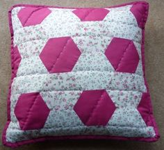 Pink floral hexagons handmade quilted patchwork cushion cover