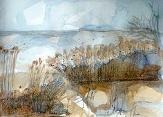 Watercolour. 40cm. Estuary reed beds.
