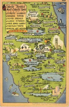 Colorful Map of Florida Attractions Scenic Maps. Lived there for 10 years. I absolutely loved it. :)