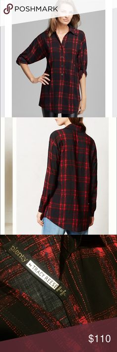 """""""Kennebec"""" plaid tunic Lightweight plaid Henley tunic. Half button front. Side pockets! Worn once, like new! (Size: P/xs) 🚫trades Plenty by Tracy Reese Tops Tunics"""
