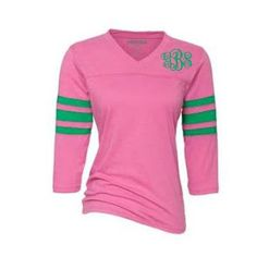 The Pink Giraffe -- awesome green striped shirt with a monogram!