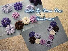 Crochet bullion stitch grape bead, My Crafts and DIY Projects Crochet Leaf Patterns, Crochet Motifs, Freeform Crochet, Bead Crochet, Irish Crochet, Crochet Stitches, Bijoux Shabby Chic, Bracelet Crochet, Crochet Earrings