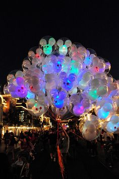Disneyland Balloons - Now with flashing multi-color LED goodness! by imperpay, via Flickr