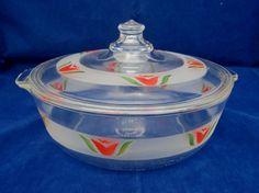 Rare 1948 Vintage Pyrex Lg Etched RED TULIP Casserole Baking Dish & Lid #624-B #Pyrex