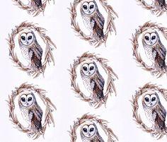 Sooty Owl on Gumleaf fabric by thistleandfox on Spoonflower - custom fabric