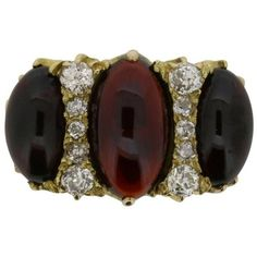 Preowned Victorian Garnet And Diamond Dress Ring, Circa 1880s ($4,475) ❤ liked on Polyvore featuring jewelry, rings, multiple, oval garnet ring, oval diamond ring, oval ring, victorian diamond ring and diamond rings