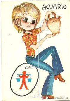 Bonita postal: Horoscopo. Acuario. Circulada. Deposito Legal del año 1968