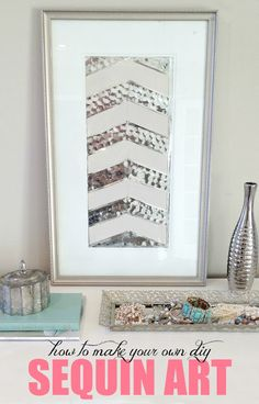 How to make DIY herringbone sequin art out of old thrift store art! Check out the before pics! Love this!
