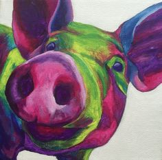 Pig Wall Art Painted Pig Canvas Pig Canvas by GintziBee on Etsy