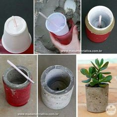 How to make cement vases - DIY tutorialHow to make cement pots - Step by step with photos - How to make cement jars - DIY tutorial - Creative Madame - www.To make a concrete vase is not easy.Look our ideas how to make concrete DIYs That Are Pr Diy Concrete Planters, Concrete Pots, Concrete Design, Diy Planters, Succulent Planters, Succulent Arrangements, Pink Succulent, Candle Arrangements, Planter Garden
