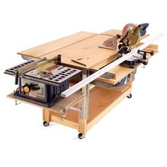 If your garage does double duty as parking space and work space, a rolling workbench is essential. It lets you convert your garage into a workshop quickly and rolls up against the wall to restore parking space. The version shown here began as a standard rolling bench made from 2x4s and plywood. Then we added a slick feature: heavy-duty shelf brackets that make it the Swiss army knife of workbenches.
