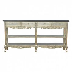 Hand Carved Console Table with Black Marble Top