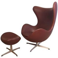 Early Arne Jacobsen Egg Chair with Ottoman for Fritz Hansen