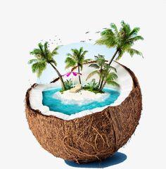 tropical island in coconut. Beach Clipart, Summer Clipart, Coconut Beach, Cool Pictures Of Nature, Balloon Illustration, Sculpture Lessons, Composition Art, Hawaiian Art, Beach Images