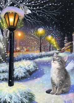 Tabby kitten cat angel chickadee Christmas lights snow original aceo painting #Realism