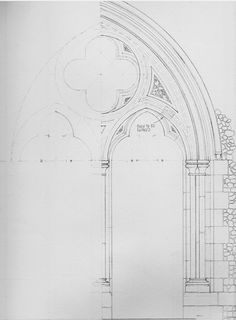 Hand drawn technical drawing of a church door