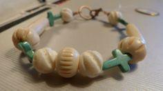 Heren/Dames Uni Bone en echt Turkooise Armband via Birdie By AnneMary Westera