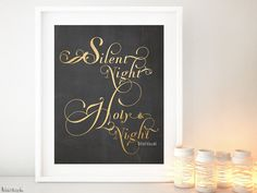 """Silent Night Holy Nigh, carol lyrics holiday decoration in gold and chalkboard.  Instant digital download:  """"Silent Night Holy Night"""" written in gold flourished typography. Perfect as holiday decoration!  Color: faux gold foil and chalkboard background (shown)  Opening special offer: buy one instant download marked $4.90 and get another one free (of the same prize) using code BOGOINSTANT"""