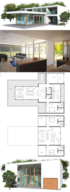 Modern House Plan. Floor Plan from ConceptHome.com