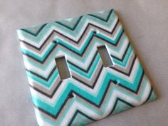 Tiffany blue and gray chevron striped double by COUTURELIGHTPLATES, $7.00 bedroom decor, bathroom decor , shabby chic, teen room decor