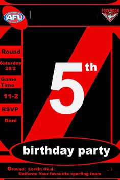 Our little man turned five last week, five! As MJ is a keen Essendon fan we had a Bombers themed footy party - black and red as. Birthday Party Invitations, Birthday Party Themes, Th Game, Happy 5th Birthday, Chocolate Dipped Strawberries, Time Games, Little Man, How To Make Cake, Party Games