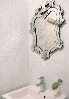 Vintage Venetian mirror and wall mounted soap holder by La Maison du Savon
