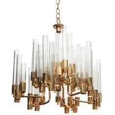 Mid Century Brass & Glass Tube Chandelier by Hans Agne Jakobsson | From a unique collection of antique and modern chandeliers and pendants  at http://www.1stdibs.com/furniture/lighting/chandeliers-pendant-lights/