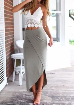 White-Grey Crop Irregular Backless 2-in-1 Lace Dress - Dresses