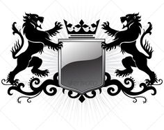 Stylized Lion Standing for Coat of Arms or Heraldic Logo