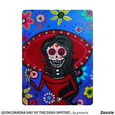 QUINCEANERA BOOK OF LIFE MARIA DAY OF THE DEAD INVITATION, DIA DE LOS MUERTOS