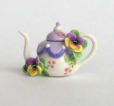 Miniature Sweet Pansy Teapot OOAK by C. Rohal by ArtisticSpirit
