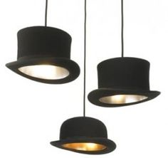 Top hats (whose insides are gilded) make a whimsical and fun hanging light.
