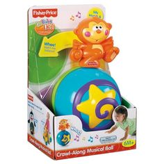 """Ready, set, crawl! Baby will delight in chasing after this funny friend. As baby bats at the ball or rolls it across the floor, the cheerful monkey balances on top.  Silly sounds and music add to the excitement! Includes an on/off switch for quiet play. Requires two """"AAA"""" batteries, included. Monkey measures 8.5""""H."""