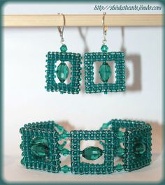 Emerald green glamour style jewelry set bracelet by Shinkabeads, $35.00